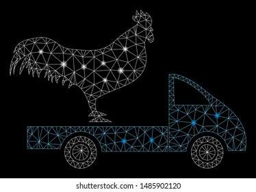 Glossy mesh chicken transport car with glow effect. Abstract illuminated model of chicken transport car icon. Shiny wire carcass triangular mesh chicken transport car.