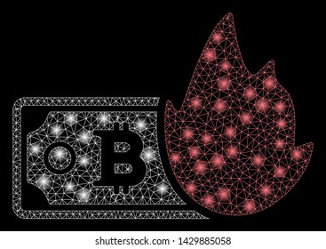 Glossy mesh fired bitcoin banknote with glare effect. Abstract illuminated model of fired bitcoin banknote icon. Shiny wire carcass polygonal mesh fired bitcoin banknote.