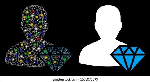 Glossy mesh goldsmith icon with glare effect. Abstract illuminated model of goldsmith. Shiny wire frame polygonal mesh goldsmith icon. Vector abstraction on a black background.