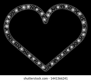 Glossy mesh heart with glow effect. Abstract illuminated model of heart icon. Shiny wire carcass polygonal mesh heart. Vector abstraction on a black background.