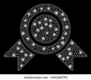 Glossy mesh honour medal with glitter effect. Abstract illuminated model of honour medal icon. Shiny wire carcass triangular mesh honour medal. Vector abstraction on a black background.