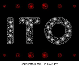 Glossy mesh ITO caption with glitter effect. Abstract illuminated model of ITO caption icon. Shiny wire carcass polygonal network ITO caption. Vector abstraction on a black background.