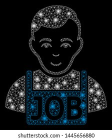 Glossy mesh jobless with glare effect. Abstract illuminated model of jobless icon. Shiny wire carcass polygonal mesh jobless. Vector abstraction on a black background.
