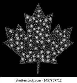 Glossy mesh maple leaf with glow effect. Abstract illuminated model of maple leaf icon. Shiny wire frame triangular mesh maple leaf. Vector abstraction on a black background.
