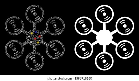 Glossy mesh multirotor icon with lightspot effect. Abstract illuminated model of multirotor. Shiny wire frame polygonal network multirotor icon. Vector abstraction on a black background.