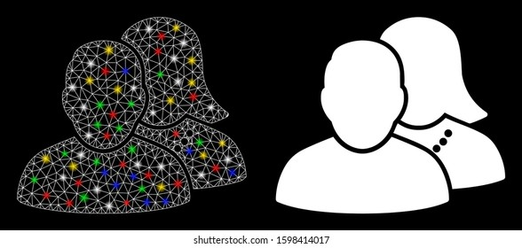 Glossy mesh people icon with lightspot effect. Abstract illuminated model of people. Shiny wire frame polygonal mesh people icon. Vector abstraction on a black background.