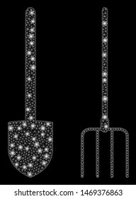 Glossy mesh pitchfork and shovel tools with glow effect. Abstract illuminated model of pitchfork and shovel tools icon. Shiny wire carcass polygonal mesh pitchfork and shovel tools.