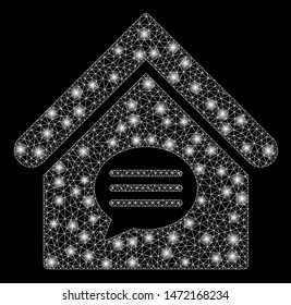 Glossy mesh realty message with glitter effect. Abstract illuminated model of realty message icon. Shiny wire frame polygonal mesh realty message. Vector abstraction on a black background.