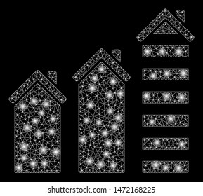 Glossy mesh realty trend with glare effect. Abstract illuminated model of realty trend icon. Shiny wire frame polygonal network realty trend. Vector abstraction on a black background.