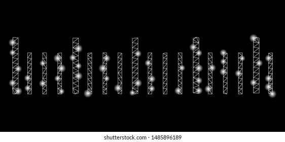 Glossy mesh ruler graduation with sparkle effect. Abstract illuminated model of ruler graduation icon. Shiny wire carcass polygonal mesh ruler graduation. Vector abstraction on a black background.