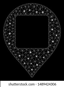 Glossy mesh square hole map marker with lightspot effect. Abstract illuminated model of square hole map marker icon. Shiny wire carcass triangular mesh square hole map marker.
