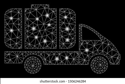 Glossy mesh tank truck with glare effect. Abstract illuminated model of tank truck icon. Shiny wire frame polygonal mesh tank truck. Vector abstraction on a black background.