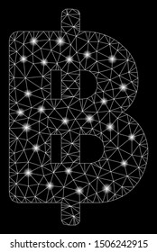 Glossy mesh Thai Baht with sparkle effect. Abstract illuminated model of Thai Baht icon. Shiny wire carcass triangular network Thai Baht. Vector abstraction on a black background.