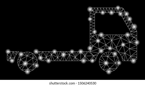 Glossy mesh truck chassis with glitter effect. Abstract illuminated model of truck chassis icon. Shiny wire carcass polygonal mesh truck chassis. Vector abstraction on a black background.