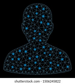 Glossy mesh user account with glitter effect. Abstract illuminated model of user account icon. Shiny wire carcass triangular network user account. Vector abstraction on a black background.