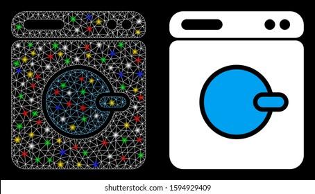Glossy mesh washing machine icon with lightspot effect. Abstract illuminated model of washing machine. Shiny wire carcass triangular network washing machine icon.