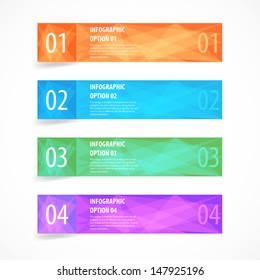 Glossy modern infographics options banner set. Vector illustration.