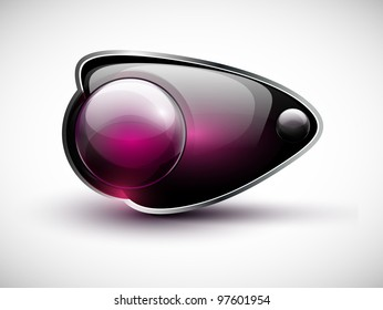 Glossy modern web button. Web navigation. Vector bubble speech. Part of set.