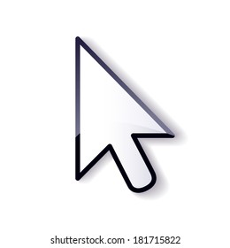 Glossy mouse arrow cursor isolated on white background.