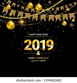 Glossy New Year background with a number 2019, realistic stars, balls and curly gold gift ribbons. A banner with Let s Celebrate slogan and Christmas lights.