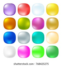 Glossy Opaque square buttons.  Web button set. Vector illustration.