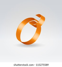 Glossy orange ribbon decorative silk lowercase o letter