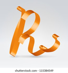Glossy orange ribbon decorative silk capital R letter