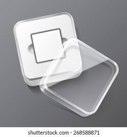 Glossy Plastic Box Square With Rounded Corners. Ready For Your Design. Product Packing Vector EPS10