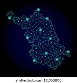 Glossy polygonal mesh Map of Jiangsu Province. Abstract mesh lines, triangles, light spots and points on dark background with Map of Jiangsu Province.