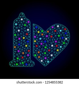 Glossy polygonal mesh safe love icon with glare effect on a dark background. Carcass safe love iconic vector with flash multi colored points for Christmas illustrations.