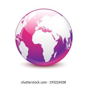 Glossy purple world globe isolated on white