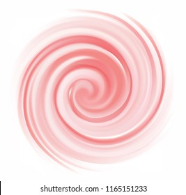Glossy radial curvy fond with space for text in center of funnel. Whirl red gel eddy syrup surface. Appetizing mix jam juicy rose color: redcurrant, dragon or pitaya, cowberry, watermelon, grapefruit