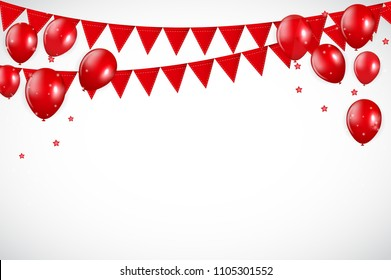 Glossy Red Balloons and Flaf Background Vector Illustration eps10
