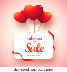 Glossy red heart balloons with text Valentines Day Sale.