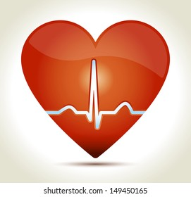 Glossy red heart with normal EKG sinus rhythm and shadow on light background.