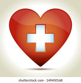 Glossy red heart with white cross and shadow on light background.