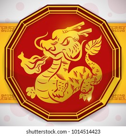 Glossy red twelve-sided button with a golden shape of a dragon throwing fire for Chinese Zodiac.