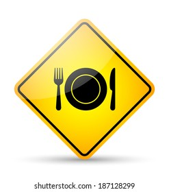 Glossy restaurant road sign in yellow and black style on white background