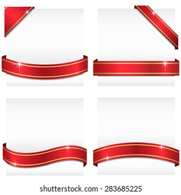 Glossy Ribbon Banners - Set of 4 red ribbon banners with gold stripes wrapping around white copy space, and 2 corner banners.  Ribbons can be adjusted easily to fit any format.