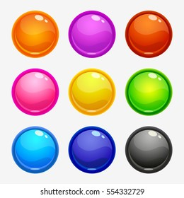 Glossy round colorful buttons set, isolated on white. Vector game or web design assets.