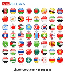 Glossy Round Flags of Asia - Full Vector Collection