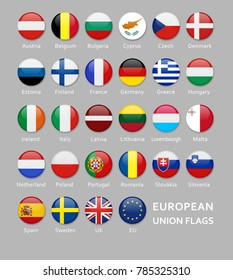 Glossy Rounded European Union flags button set with names of each country