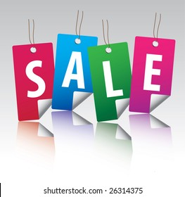 Glossy sale tag stickers with reflection / vector