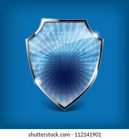Glossy security shield on blue background - place for your text or symbol