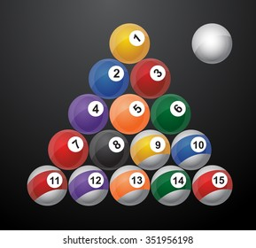 glossy set of pool balls. Vector illustration  / 8 pool ball / snooker ball / Billiard snooker / with reflections