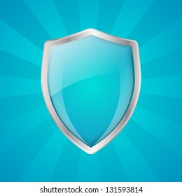 Glossy shield on blue rays background