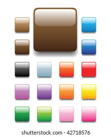 glossy, shiny candy looking square tabs for website, internet, design and other usage. No transparency is used. Please check round and elongated tube sets which are available in my profile.