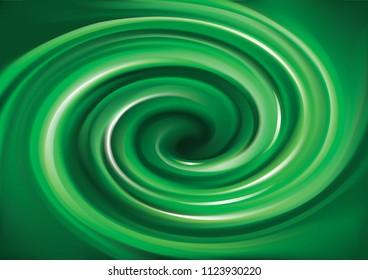 Glossy shiny mix wavy eddy jade bio vert  radial curvy fond with space for text in dark center. Gel fluid estragon surface vivid cool deep malachite mint color