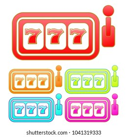 Glossy slot machine sign/icon. Five color variations. Isolated on white