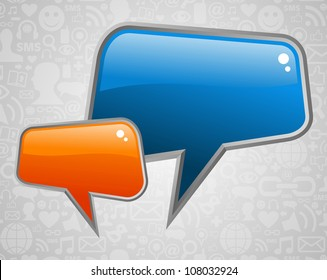 Glossy social media speech bubbles with icons background. Vector file layered for easy manipulation and custom coloring.